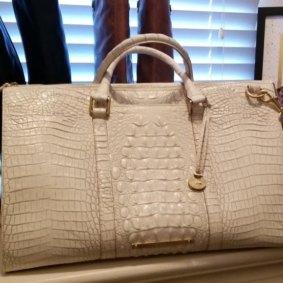 Brahmin Bags   White Embossed Leather Large Shoulder Bag   Poshmark 2a8f0f4998